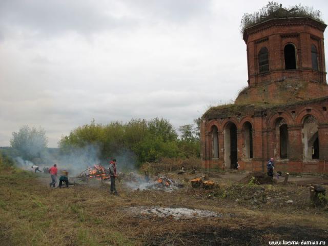 Сжигаются остатки вырубленных деревьев